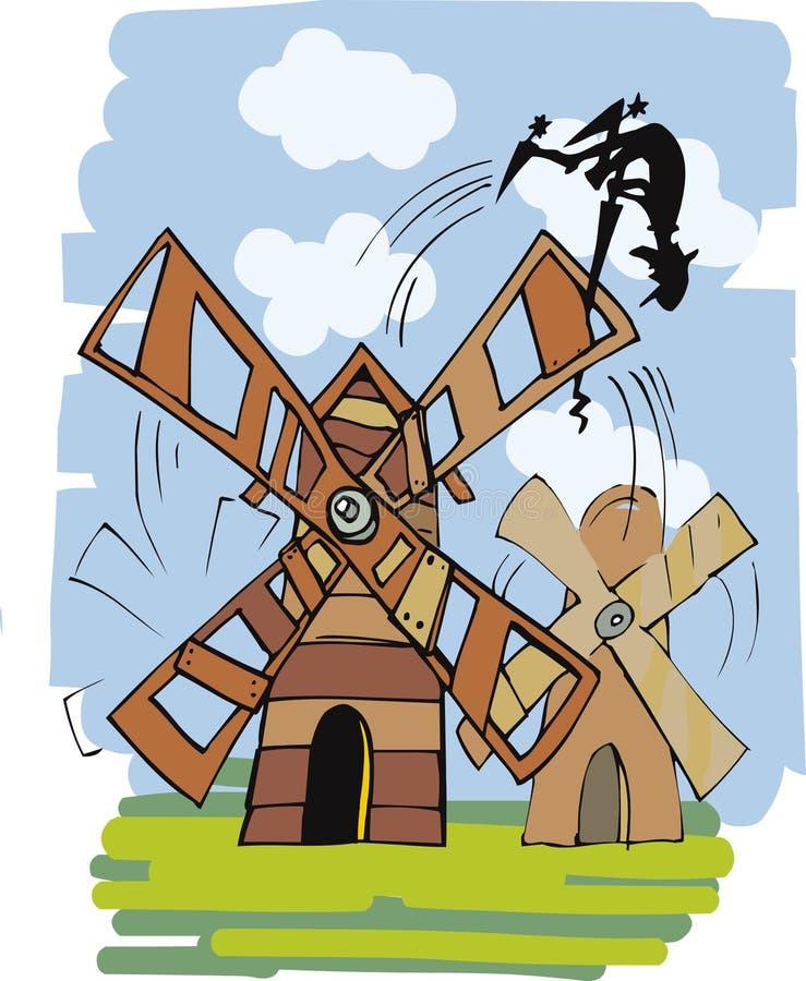 Don Quixote e moinho de vento ilustração royalty free