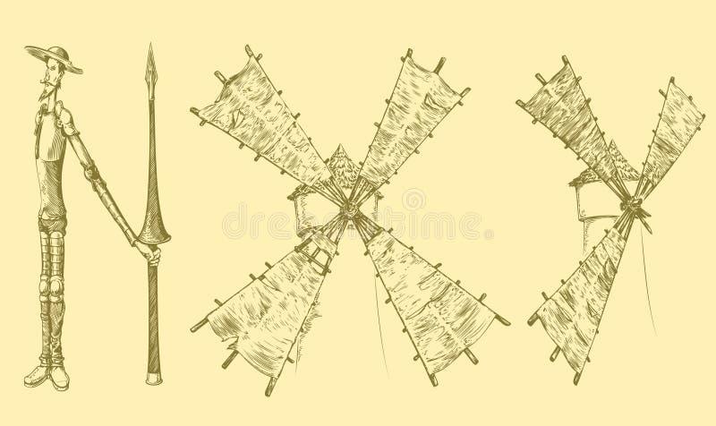 Don Quixote e moinhos de vento, similares às letras Face das mulheres Hand-drawn de illustration Gravura retro do vintage imagem de stock