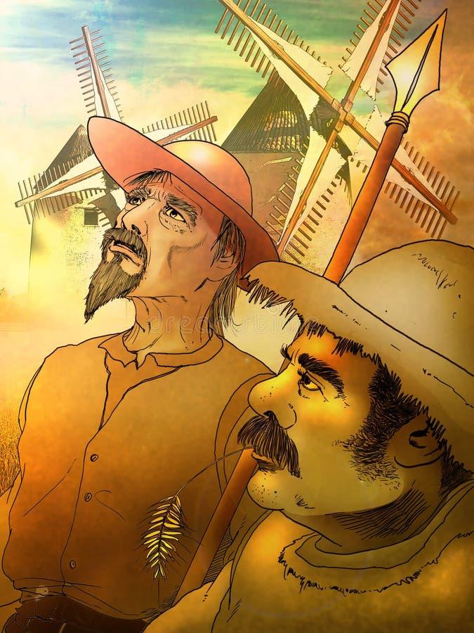 Don Quixote e Sancho Panza ilustração royalty free