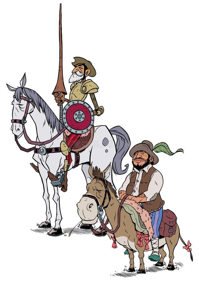 Don Quixote et Sancho Panza sur le blanc illustration stock