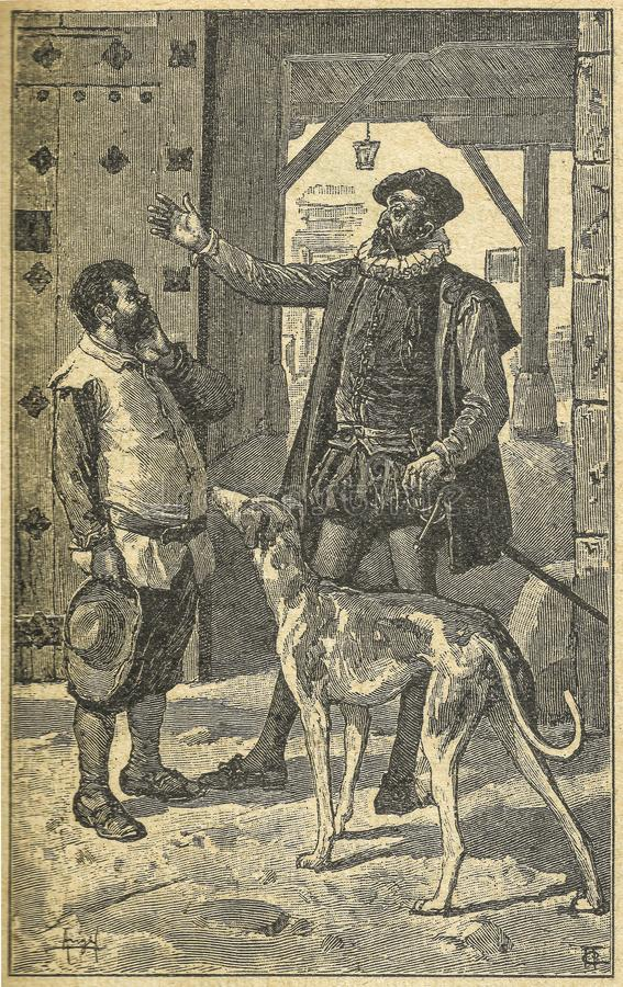 Don Quixote ha impegnato Sancho Panza come egregio fotografia stock libera da diritti