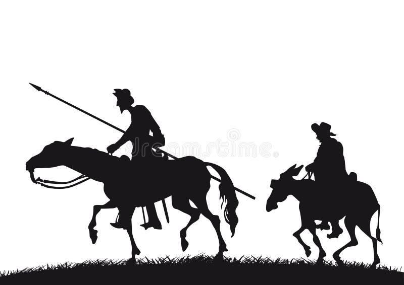 Don Quixote och Sancho Panza vektor illustrationer