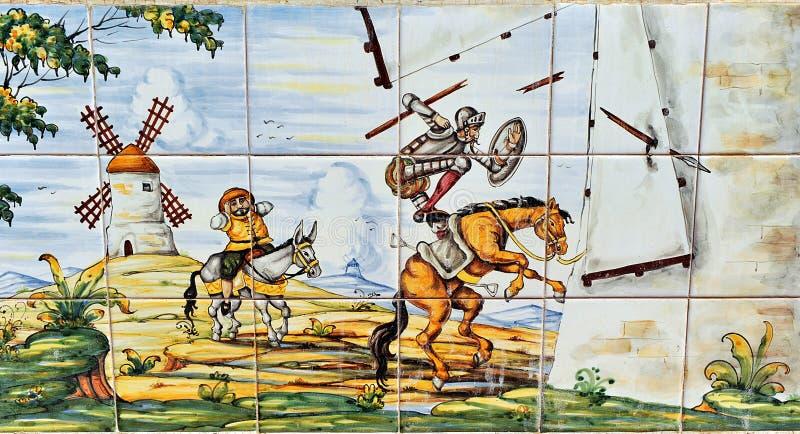 Don Quixote och väderkvarnar fotografering för bildbyråer