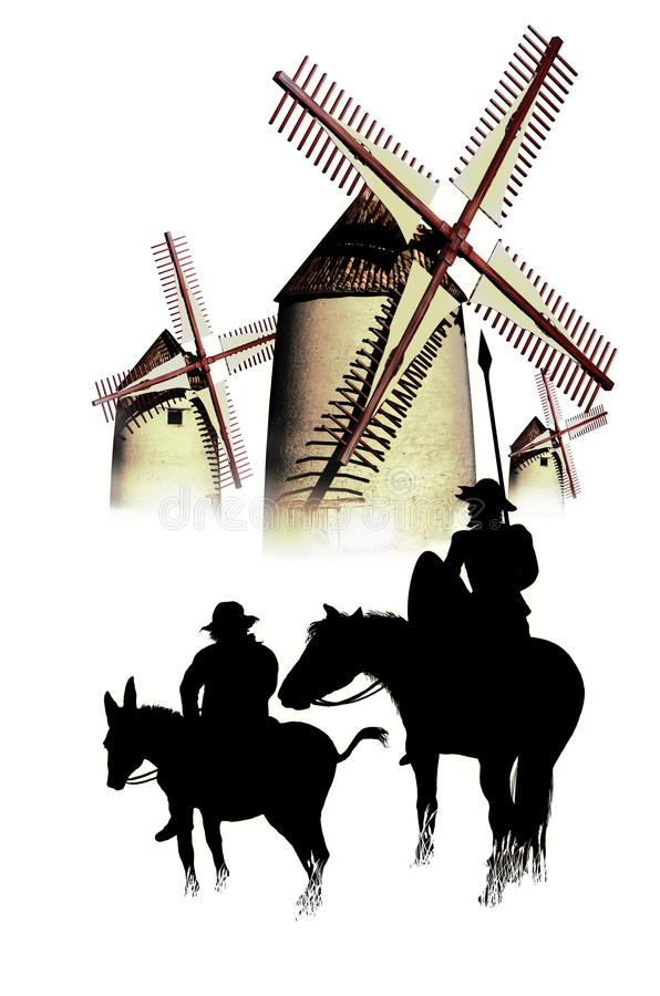 Don Quixote and Sancho Panza. Silhouettes of Don Quixote and Sancho Panza contemplating the windmills, instants before Don Quixote attacks them