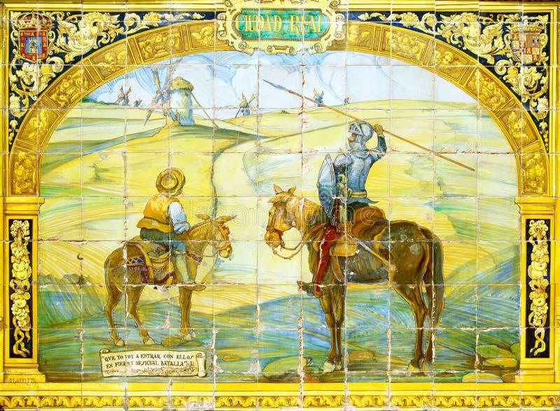 Don Quixote & Sancho Panza på azulejos i Sevilla royaltyfri fotografi