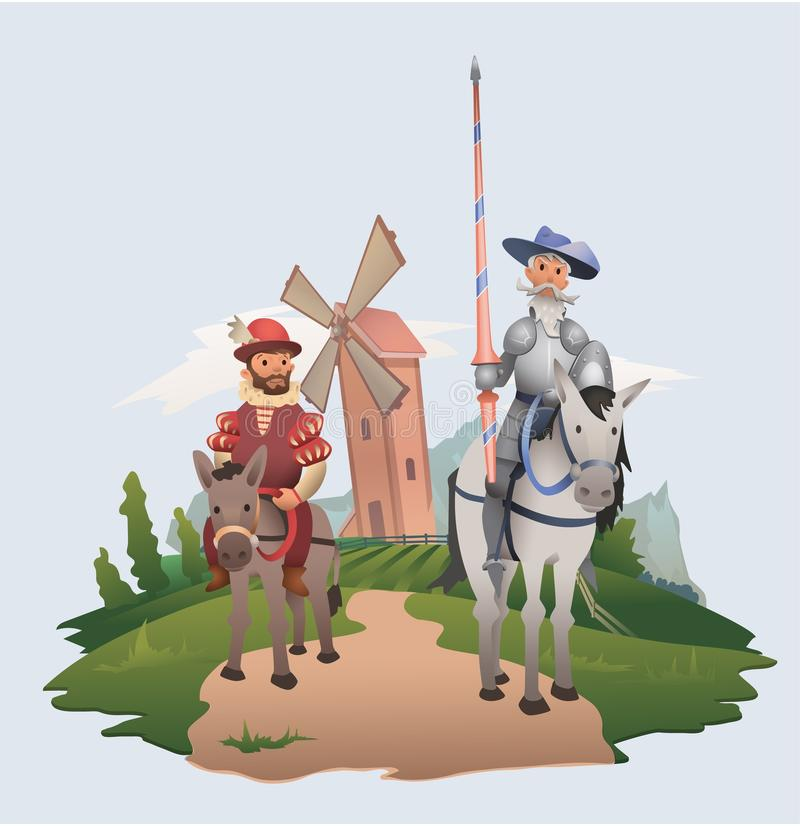 Don Quixote and Sancho Panza riding on windmill background. Book characters. Flat vector illustration. Don Quixote and Sancho Panza riding on windmill stock illustration
