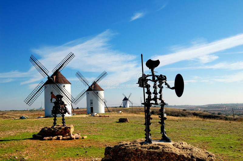 Don Quixote and Sancho Panza statue royalty free stock photos