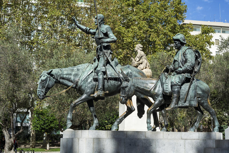 Don Quixote-Statue an Spanien-Quadrat lizenzfreie stockfotografie