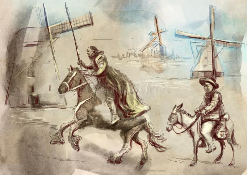Don Quixote - un'illustrazione dipinta a mano Tecnologia del disegno di Digital illustrazione vettoriale