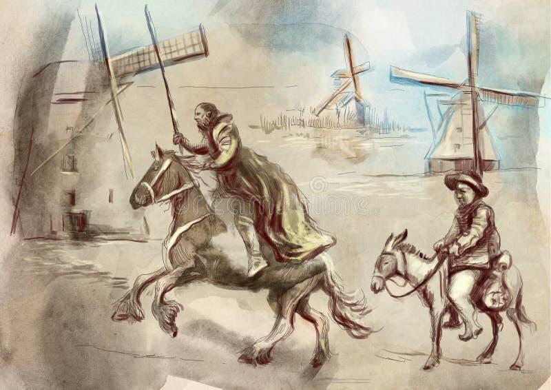 Don Quixote - une illustration peinte à la main Technologie de dessin de Digital illustration de vecteur