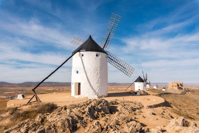 Don Quixote Windmills in Consuegra, Toledo, Spain.  royalty free stock photos