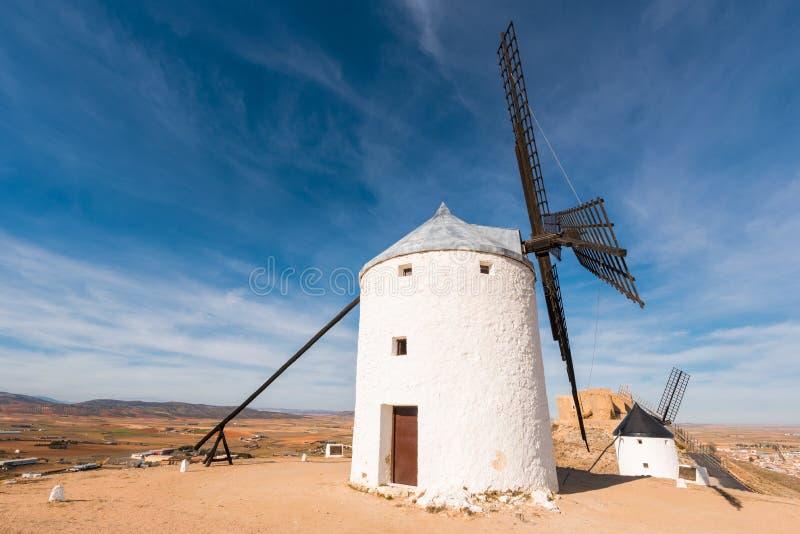 Don Quixote Windmills in Consuegra, Toledo, Spain.  stock photos