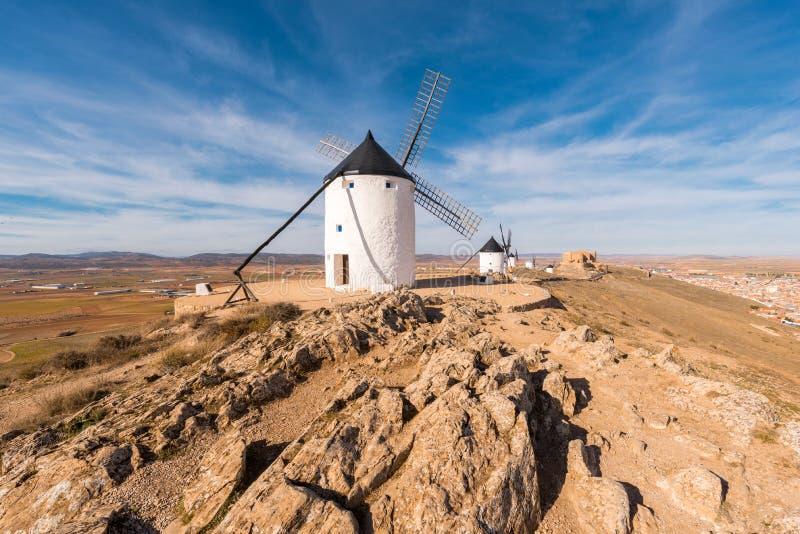 Don Quixote Windmills in Consuegra, Toledo, Spain.  royalty free stock images