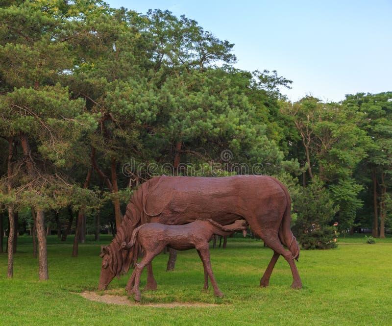 DON ROSJA, CZERWIEC, - 18, 2016: Rzeźba żelazni konie w parku miasto Rostov blisko lotniska obraz royalty free