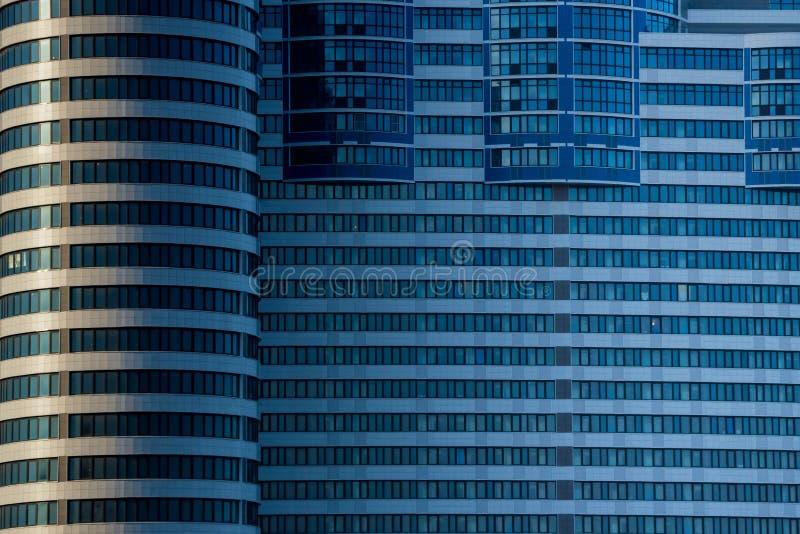 DON, ROSJA - 7 2019 KWIECIE?: Zamyka w g?r? widoku Nadrzeczny Don centrum biznesu obraz stock