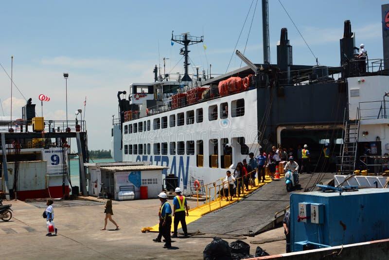 A ferry at Donsak pier. Amphoe Don Sak. Surat Thani province. Thailand stock image