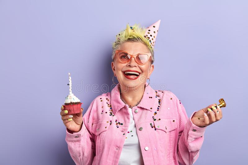 Don`t be old. woman is always young, granny who never becomes older royalty free stock photography