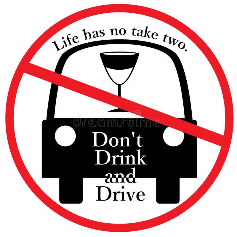 Don't Drink and Drive sign. This illustration is drawing sign of don't drink and drive in white color background stock illustration