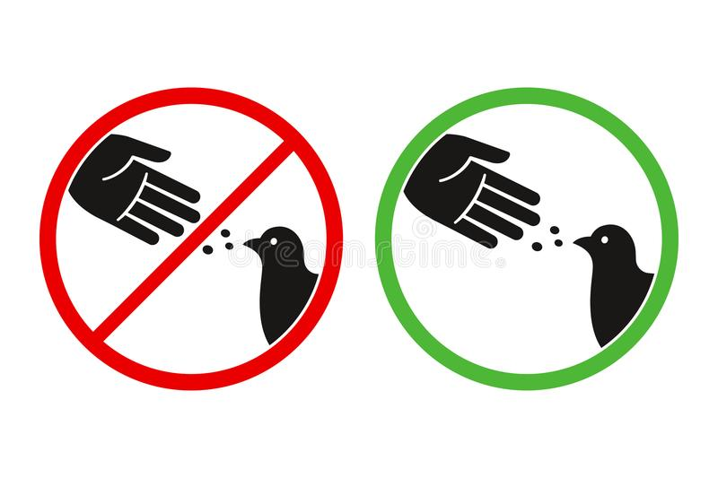Don`t feed birds sign. Do not feed the birds warning sign, stylized vector pigeon silhouette and hand symbol in crossed red circle. Feeding animals allowed in stock illustration