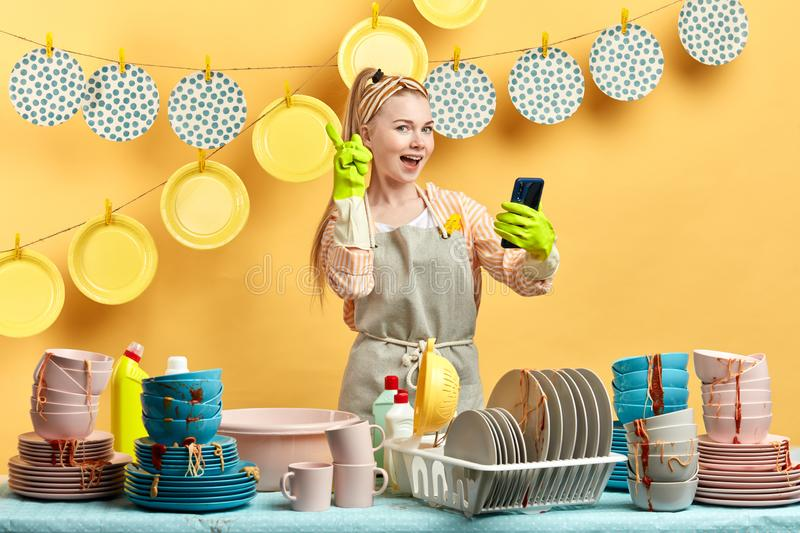 Don`t forget to call in the housework service. stock image