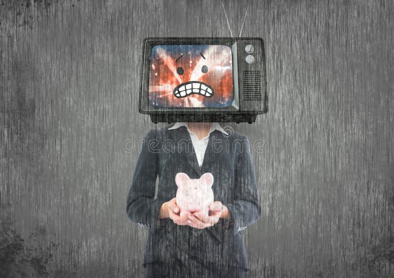 Don`t have money. tv head. Digital composite of don`t have money. tv head stock illustration