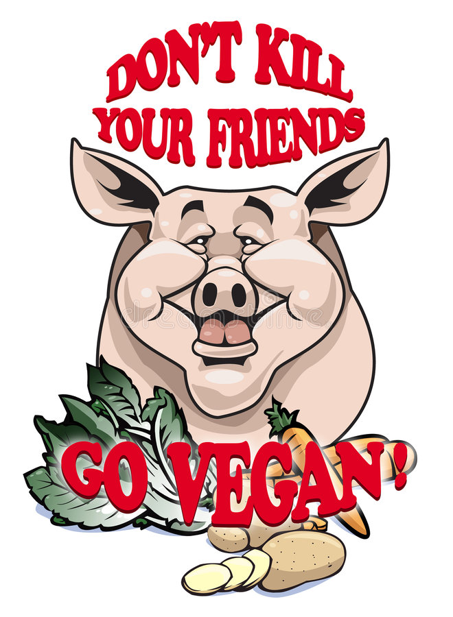 Don't kill your friends - Go vegan! vector illustration