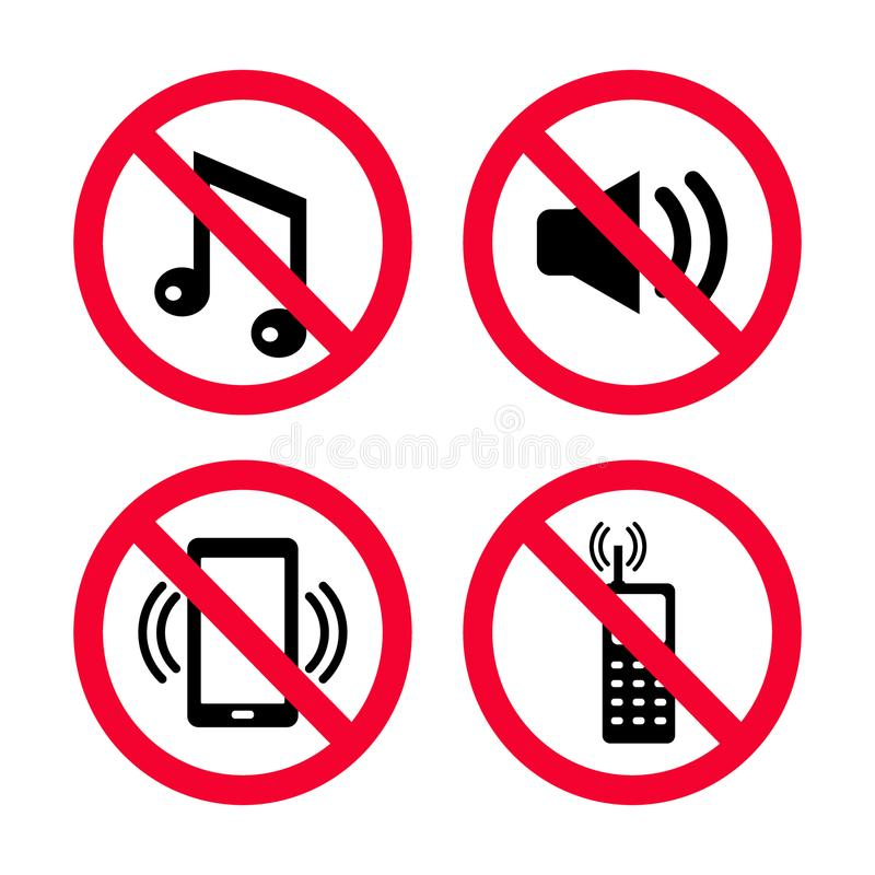Don`t make noise, No mobile phones, no music, No loud noises, red prohibition signs. stock illustration
