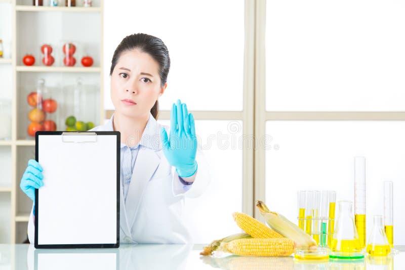 Don& x27; t probeert genetische modificatievoedsel vandaar dat ziet u royalty-vrije stock foto's