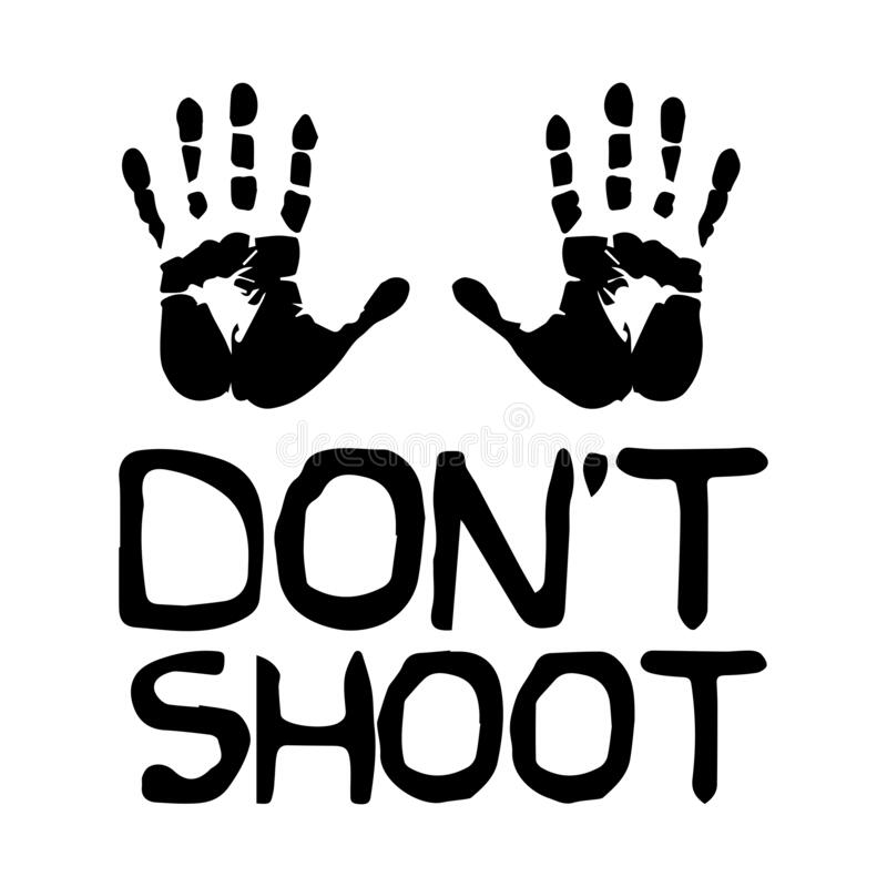 Free Don`t Shoot With Palms. Black And White Illustration Depicting Do Not Shoot Surrender Peaceful Hands Up Sign Icon. EPS Vector Royalty Free Stock Image - 186013326