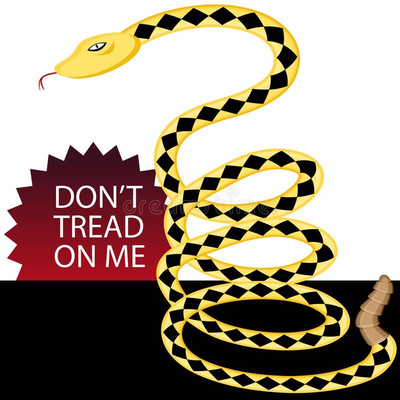 Dont Tread on Me Snake. An image of a rattlesnake with dont tread on me text vector illustration