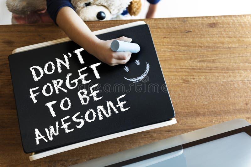 Don-` t vergessen, ehrfürchtig zu sein tun Ihr bestes gutes Arbeits-Konzept stockfotos