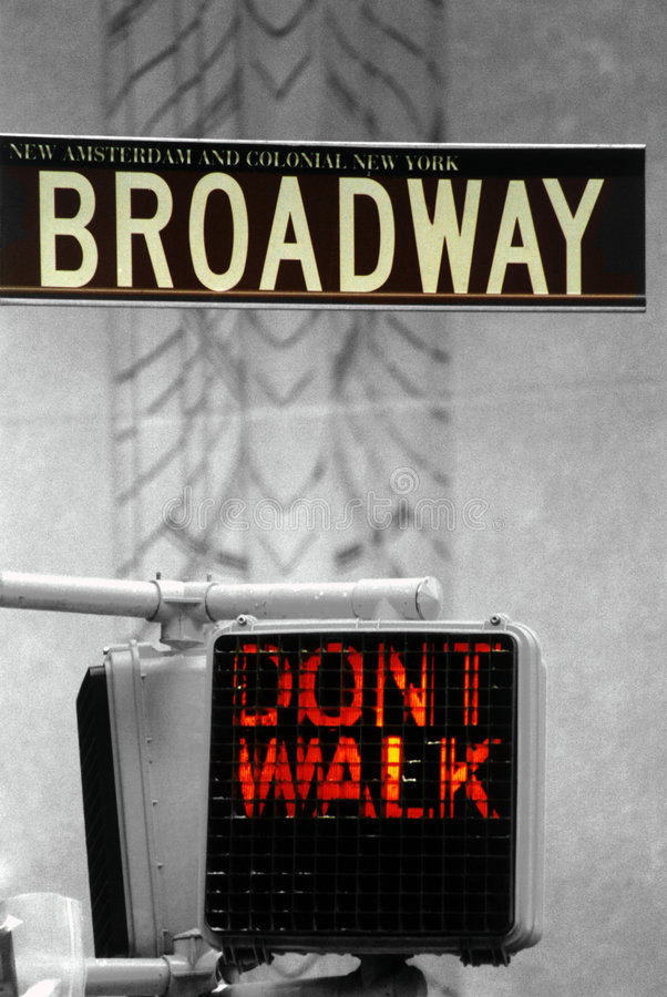 Don't Walk. Sign in New York by Broadway royalty free stock images