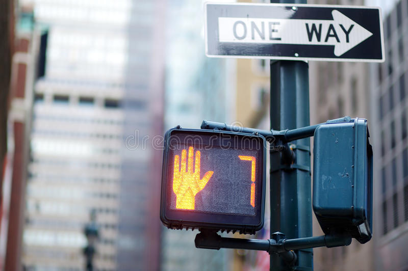 Don't walk New York traffic sign. On blurred background stock photography
