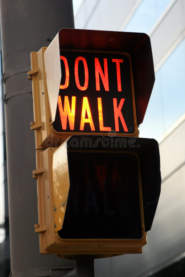 Don't Walk Sign. In a downtown area stock photo