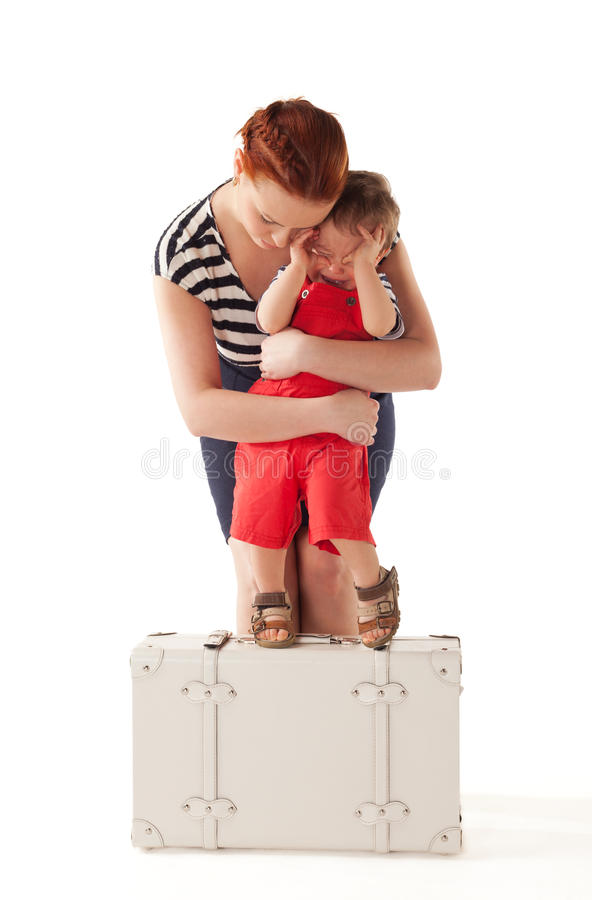 Don't wanna go home. Little boy is crying and rejecting to go home after vacations stock image