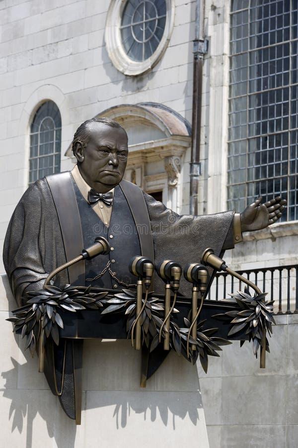 Don Wiegand-beeldhouwwerk buiten Nationaal Churchill-Museum, Fulton, royalty-vrije stock foto's