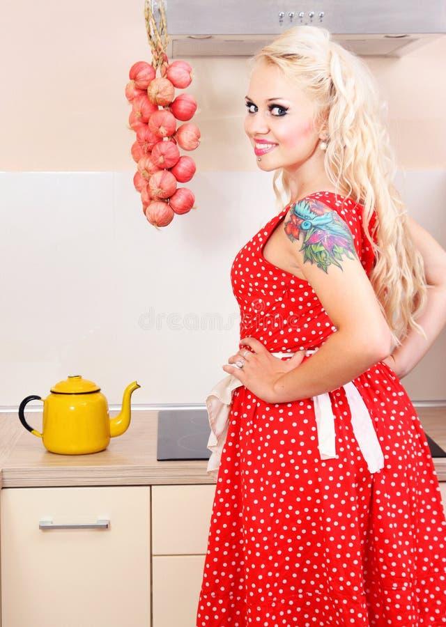 Download Dona De Casa Alegre Na Cozinha Foto de Stock - Imagem de humorous, atrativo: 16855234