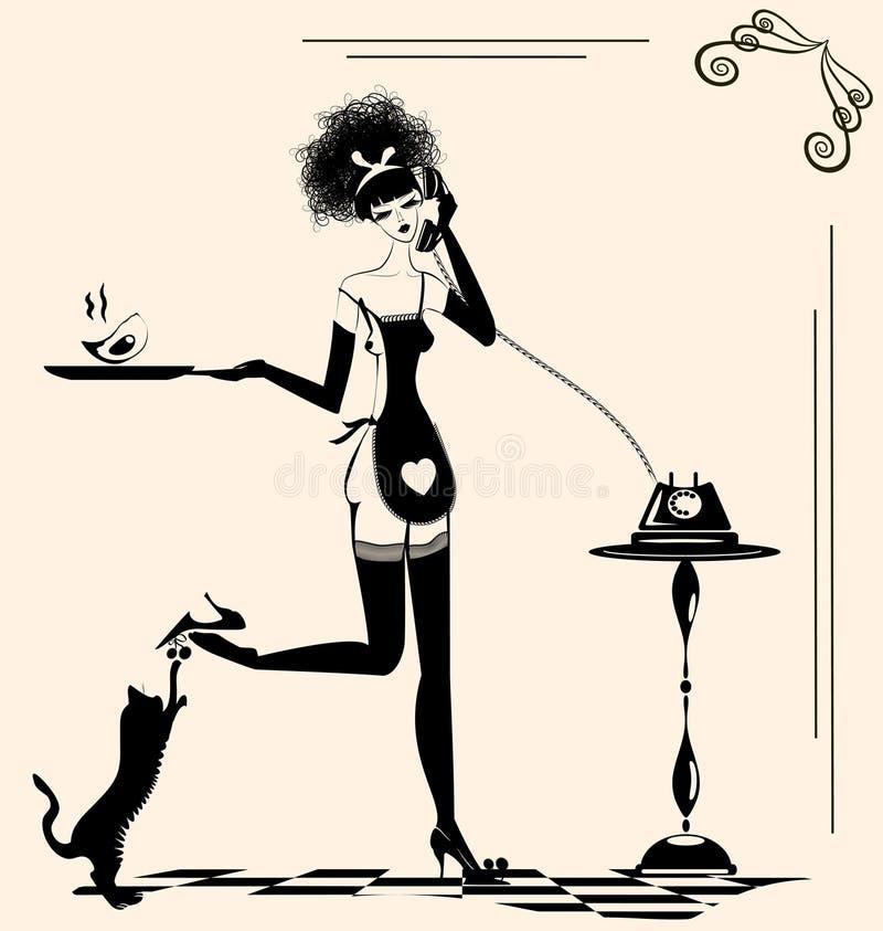 dona de casa brincalhão ilustração royalty free