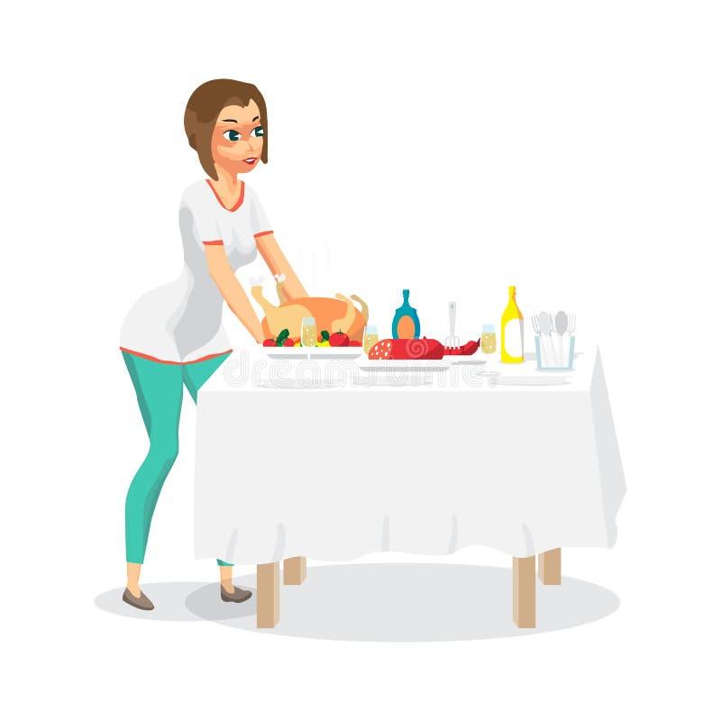 A dona de casa da jovem mulher ajusta um jantar festivo na tabela O soldado ilustração royalty free