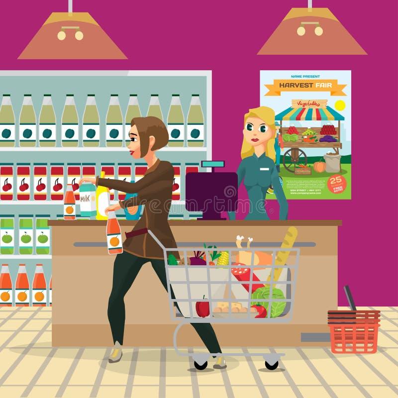 A dona de casa da jovem mulher em um supermercado apresenta compras da ilustração royalty free