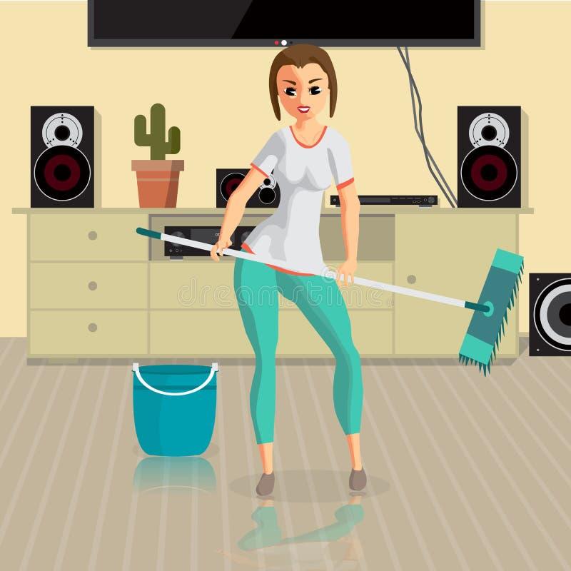 A dona de casa da jovem mulher lava um espanador do assoalho na sala Fazer da menina ilustração stock