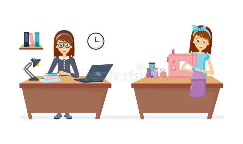 A dona de casa da mulher faz malha, costura o assento na tabela, trabalhando no caderno ilustração stock
