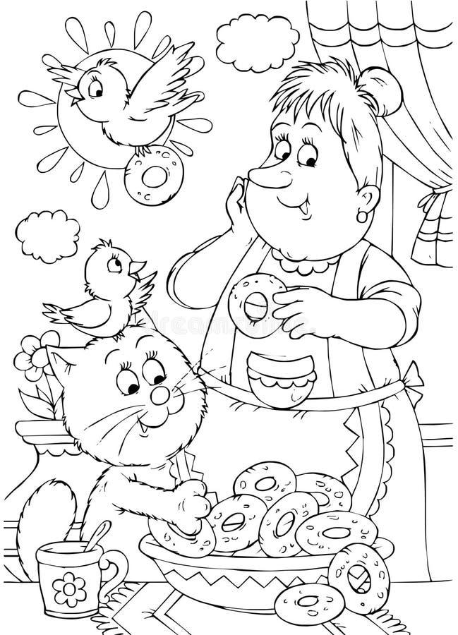Dona de casa e gato ilustração royalty free