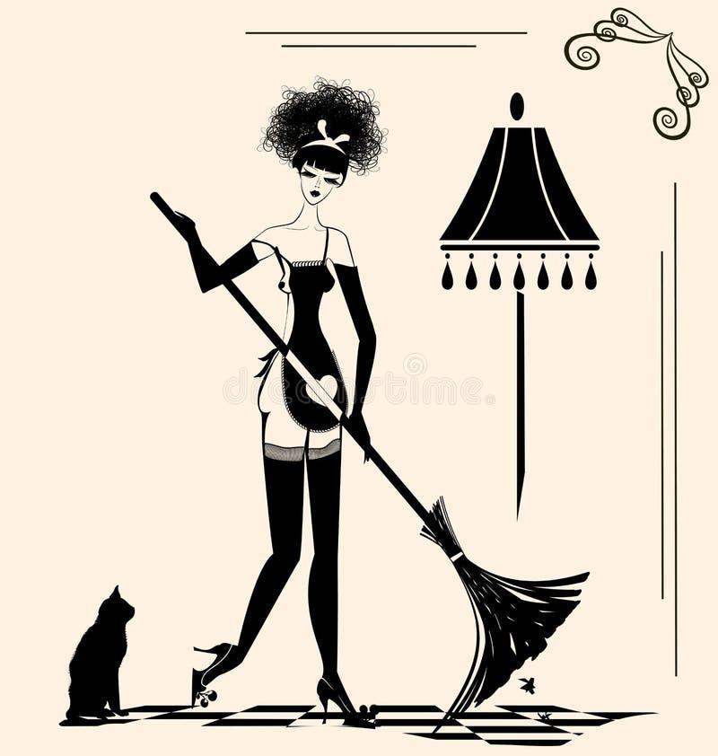 Dona de casa e uma vassoura ilustração do vetor