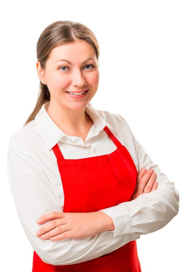 Dona de casa feliz no levantamento do avental foto de stock
