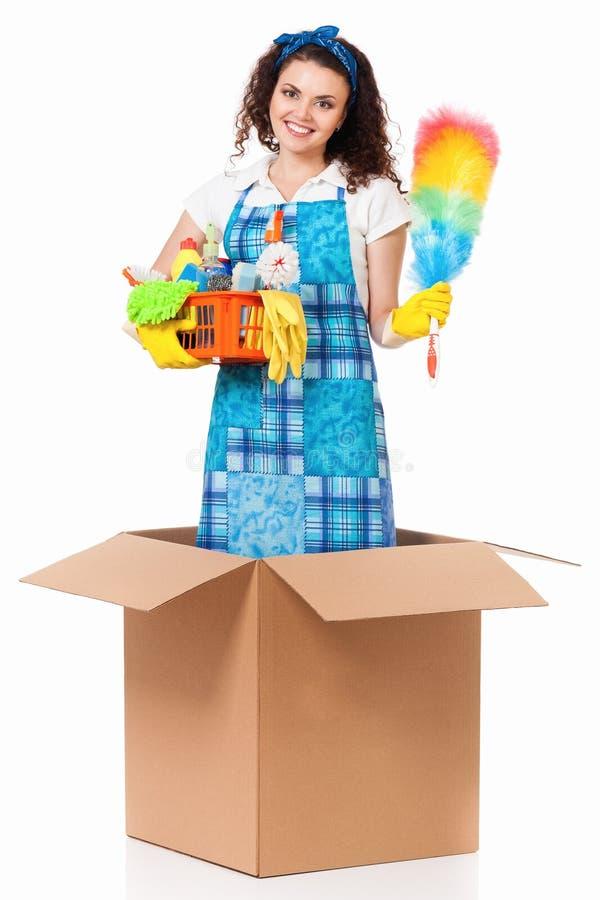 Dona de casa na caixa de cartão fotografia de stock