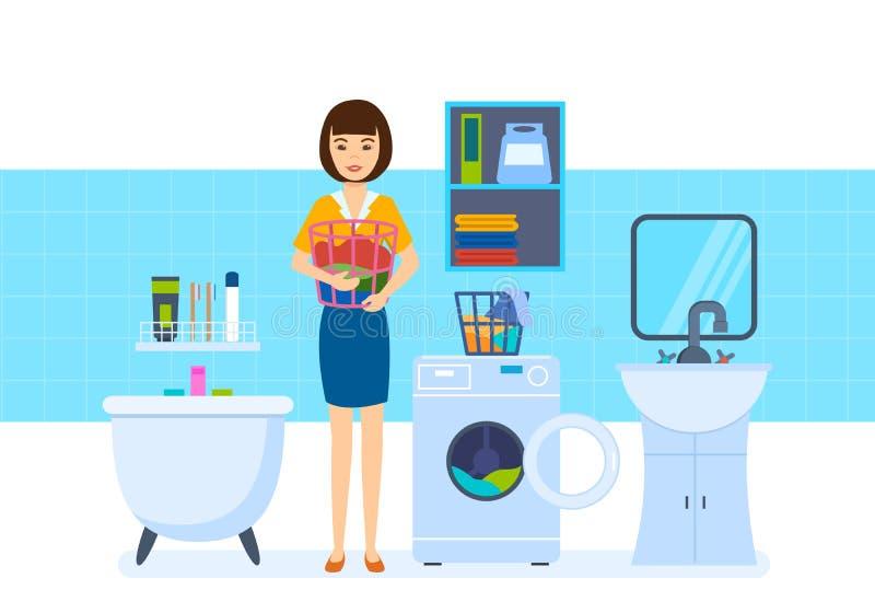 Dona de casa nova no banheiro, configurações as coisas na máquina de lavar ilustração do vetor