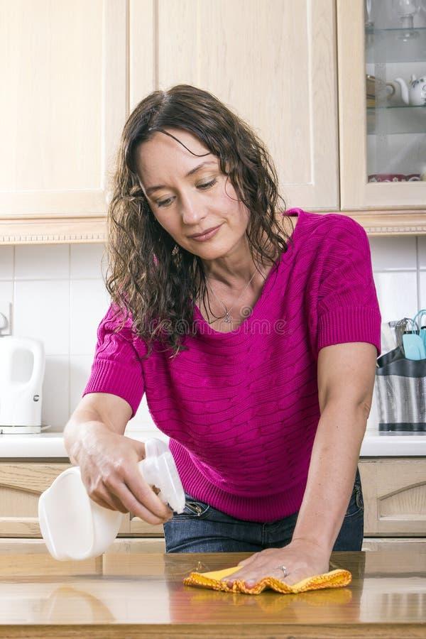 Dona de casa nova que sorri e que lustra imagens de stock