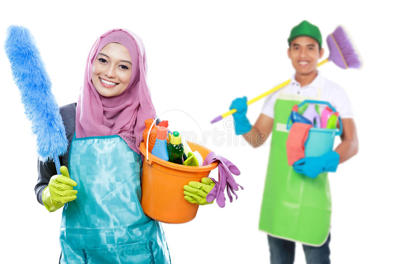 Dona de casa pronta para fazer as tarefas foto de stock