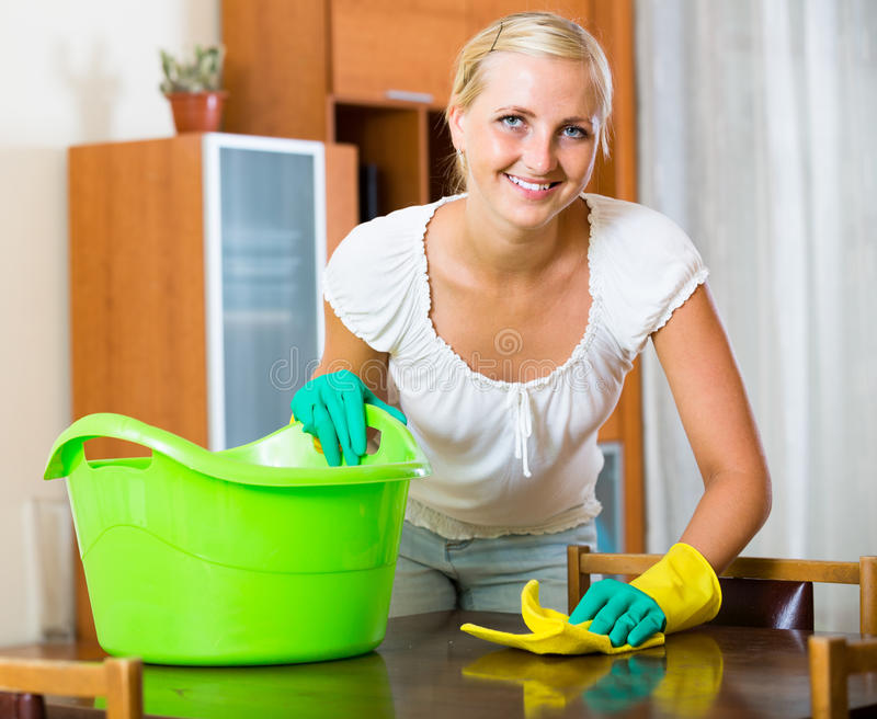 Dona de casa que faz a limpeza em casa fotografia de stock royalty free